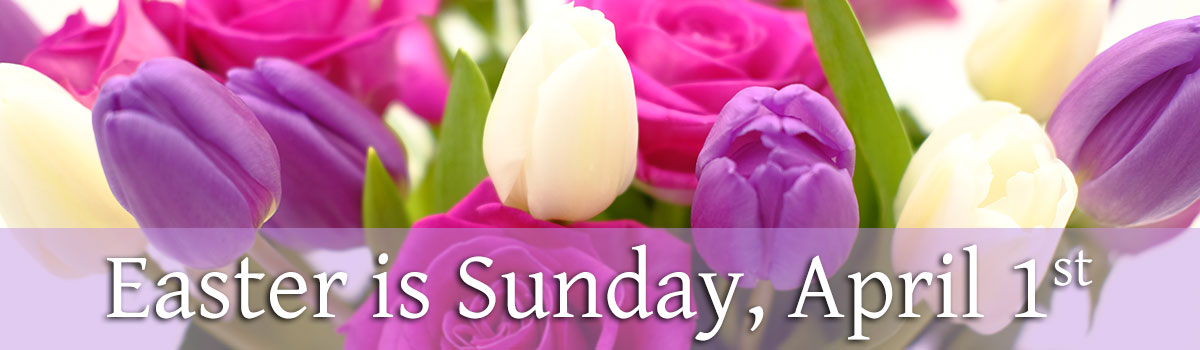 Easter is Sunday, April 1.  Celebrate all the colors of the season with fresh flowers delivered to someone special.