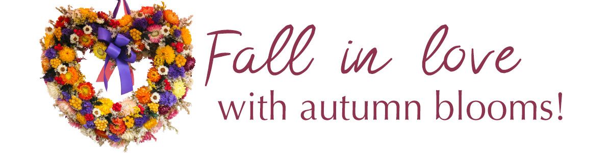 Fall in love with autumn blooms! Send a bouquet of fresh bright fall flowers today!