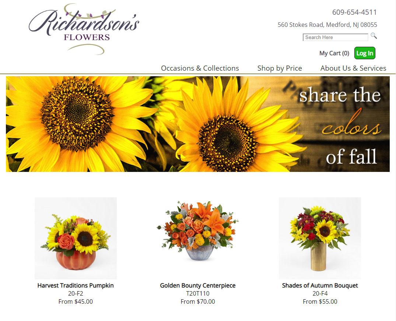 Original florist website design by Media99