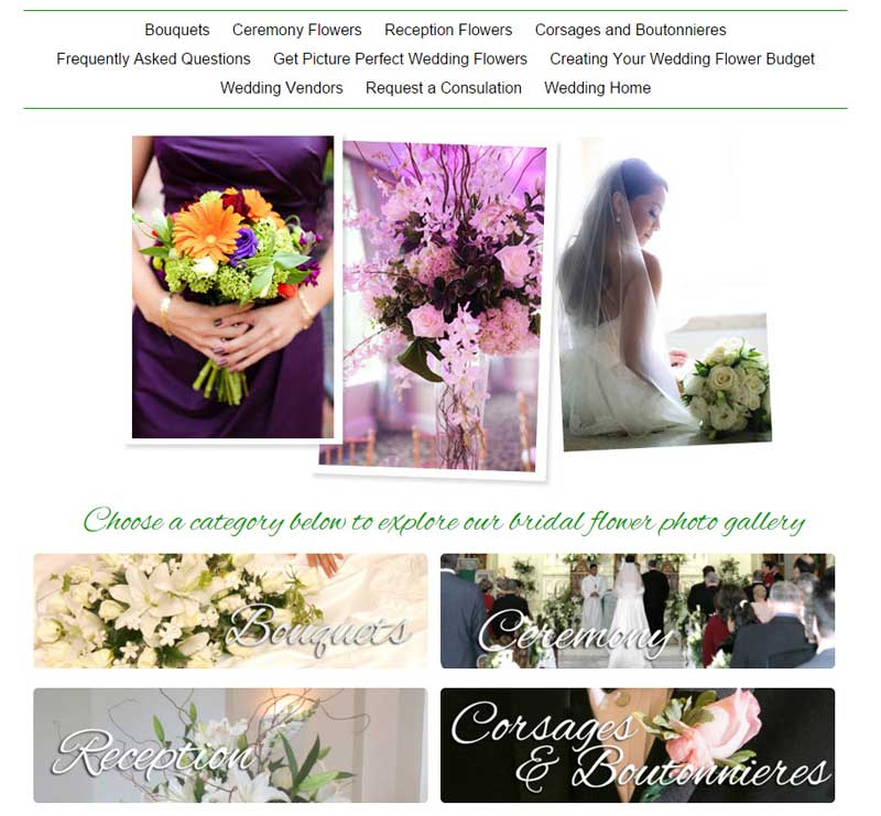 Our Custom Florist Wedding Gallery lets you add your own flower images from weddings your florist has served.