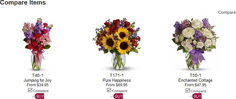Compare just the produccts you want to see in our florist-specific shopping cart