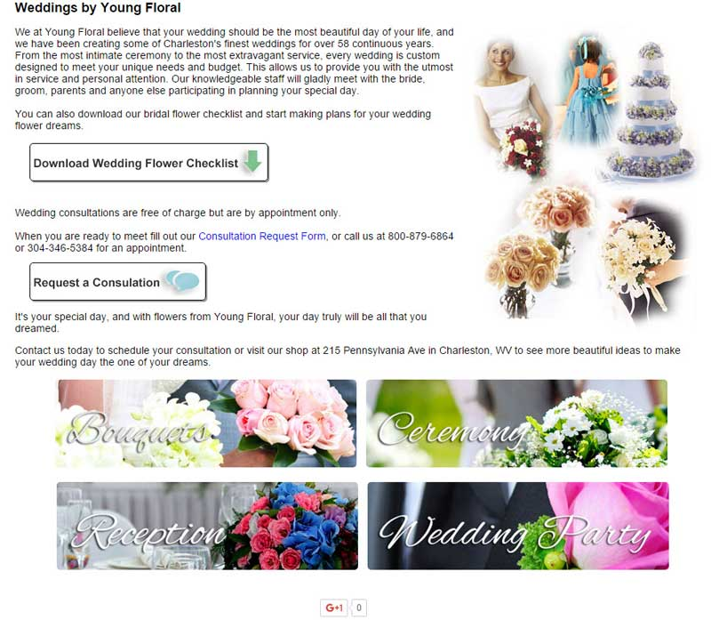 The Standard Florist Wedding Gallery is a great option for florists who don't yet have images, or who just want a turn-key solution for wedding business lead generation.